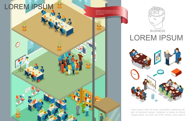 Isometric colorful business composition with people take part in business meeting presentation and training on different floors  illustration