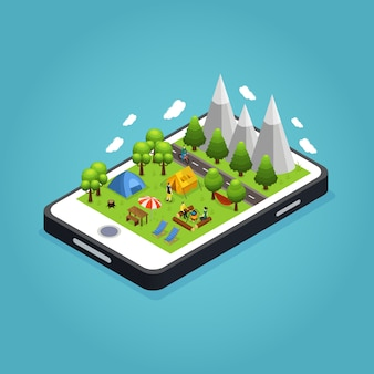 Isometric colorful camping mobile concept