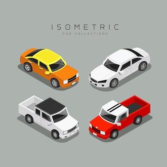 Изометрические красочные коллекции автомобилей, иллюстрации
