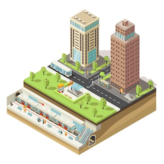 Isometric colorful cityscape concept
