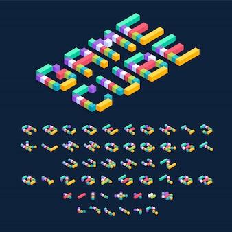 Изометрические разноцветные кубики дизайн шрифта, трехмерные буквы алфавита и цифры иллюстрации