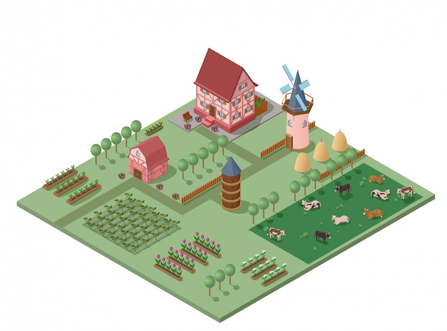 Isometric colorful farming concept
