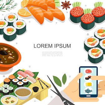 Isometric colorful japanese food concept with sushi sashimi rolls soup chopsticks and mobile food order  illustration