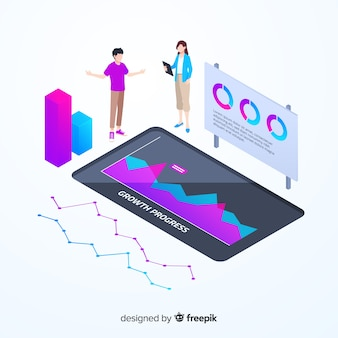 Isometric colorful monitoring infographic template