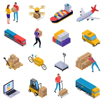 Isometric colorful set of icons with delivery transport loaders and couriers at work isolated on white