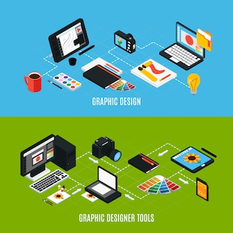 Isometric colorful set of two horizontal composition of various graphic design tools 3d isolated vector illustration