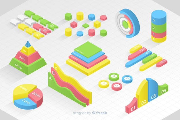 Isometric colorful statistic template collection