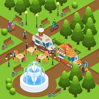 Isometric colorful street food concept with people buying coffee and pizza