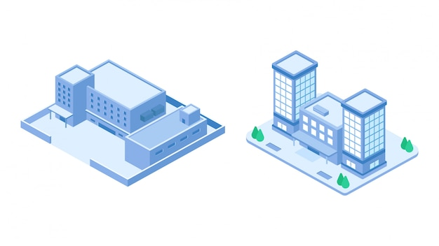 Isometric company building set