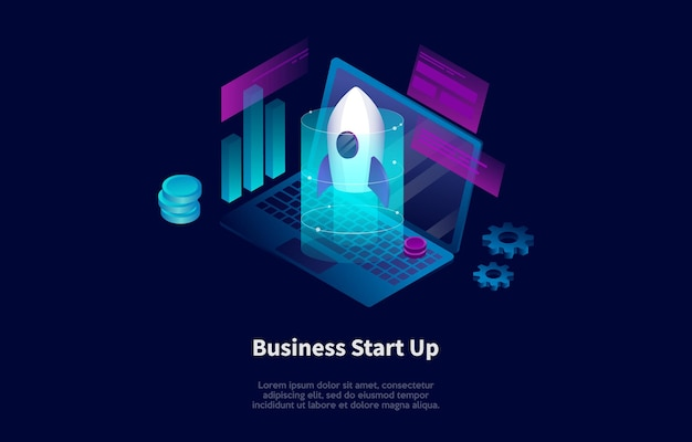 Isometric composition in cartoon 3d style of business start up concept design