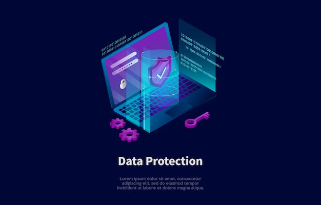 Isometric composition in cartoon 3d style of data protection concept design
