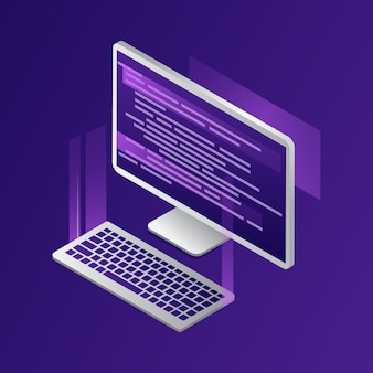 Isometric composition in cartoon 3d style of modern computer