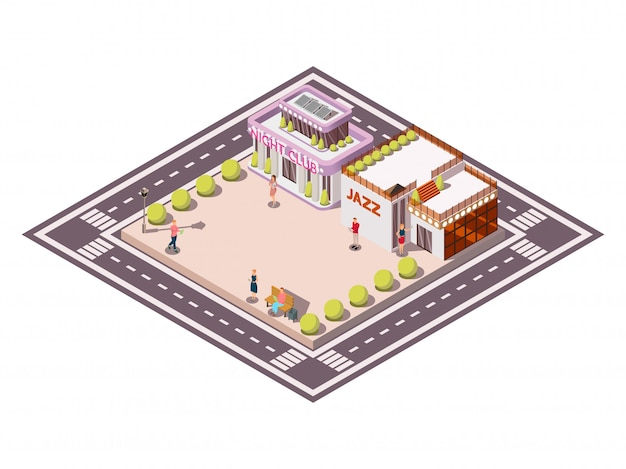 Isometric composition of city square bounded by carriageways with clubhouse jazz buildings garden beds and people vector illustration