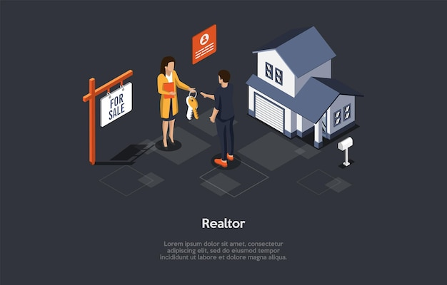 Isometric composition on dark background. vector 3d illustration in cartoon style. realtor profession, selling house concept. real estate business, mortgage contract. suburban building and characters