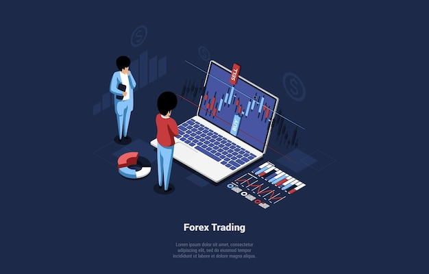 Isometric composition of forex trading concept on dark