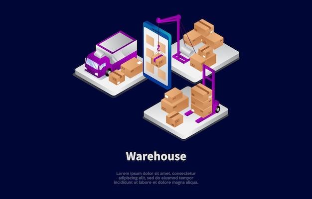 倉庫作業プロセスの漫画3dスタイルの等角投影
