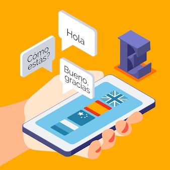 Isometric composition of language courses on smartphone illustration