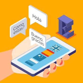 Изометрическая композиция языковых курсов на иллюстрации смартфона