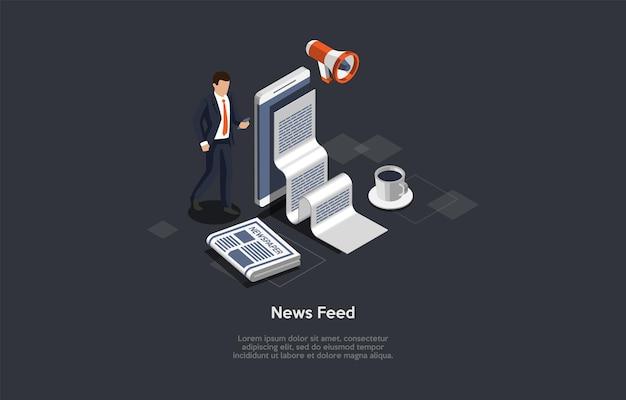 Изометрические состав концепции ленты новостей с объектами и характером