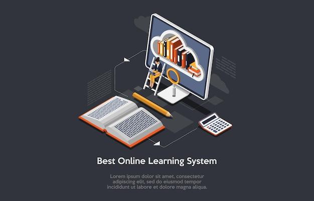 オンライン学習システムの概念を使用した青暗色のアイソメトリック構成。ノートパソコンが座っている画面上の女性のコンピュータクラウドライブラリ