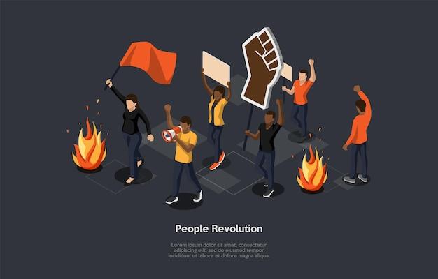 暗い背景の等角投影。漫画スタイルのベクトル3dイラスト。人々の革命、大規模な反乱の概念。旗、plackards、サインとグループ。スピーカーを持っている人。周りの火