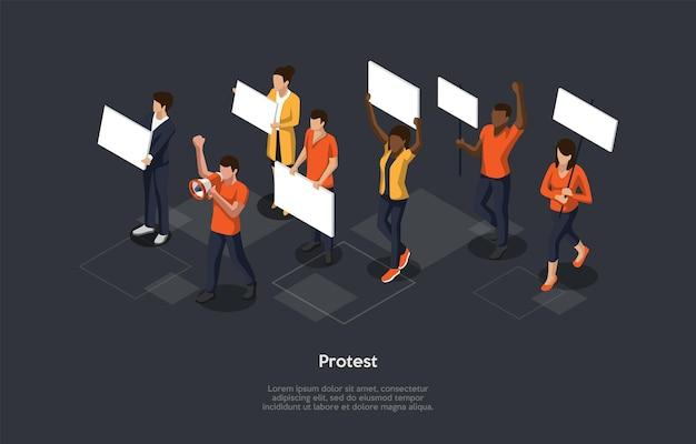 暗い背景の等角投影。漫画スタイルのベクトル3dイラスト。抗議の概念。バナーを歩いている人々のグループ。兆候を示す活動家の群衆、スピーカーを持つ人