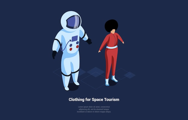 Isometric composition of space tourism clothing