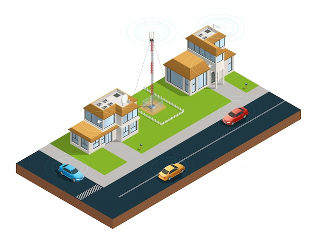 Isometric composition of town street with devices in houses tower and cars connected
