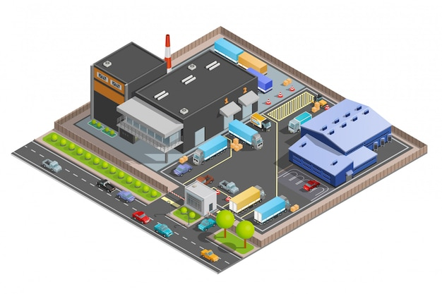 Isometric composition of warehouse