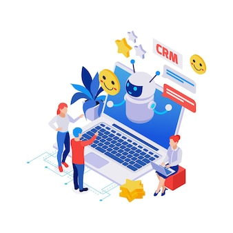 Isometric composition with chatbot on laptop people happy smiles