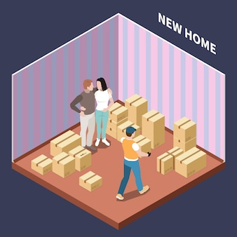 Isometric composition with couple moving to new house with cardboard boxes 3d vector illustration