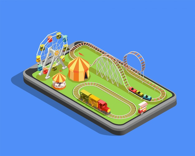 Isometric composition with different attractions in amusement park on blue  3d