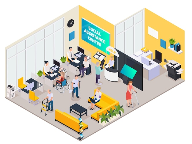 Isometric composition with disabled people with crutches and on wheelchair at social assistance center 3d