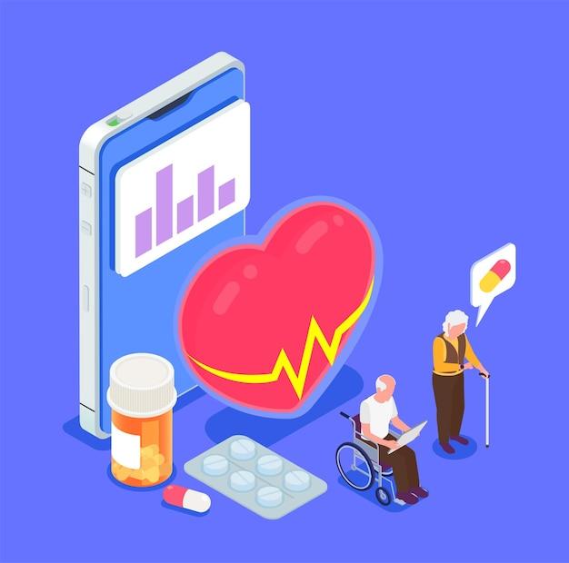 高齢者と等角投影図と健康監視イラストのモバイルアプリ