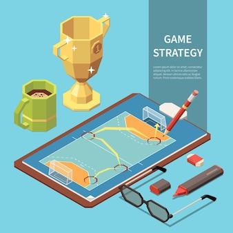 Composizione isometrica con strategia di gioco disegnata su carta con illustrazione 3d campo sportivo