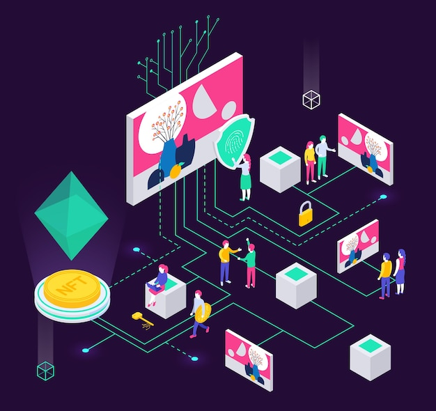 Isometric composition with human characters and holographic objects connected with lines illustration