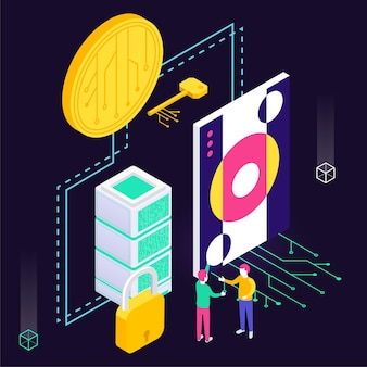 Isometric composition with icons of electronic coin with painting and buyer illustration