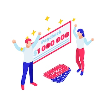 Isometric composition with lottery winners paycheck and tickets on white background