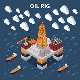 Изометрическая композиция с нефтяной вышкой и танкерами 3d иллюстрация