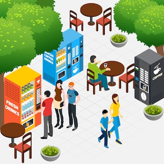 Isometric composition with outdoor cafe and people buying coffee and snacks in vending machines 3d vector illustration