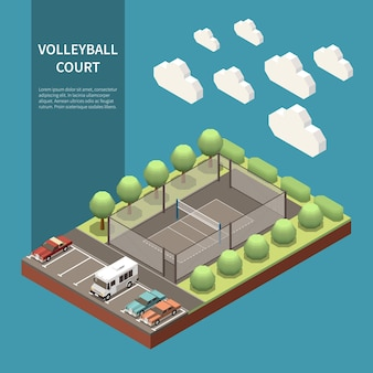 Isometric composition with outdoor volleyball sport field and parking zone 3d  illustration