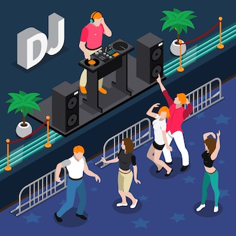 Isometric composition with people dancing at party to music of dj musician 3d vector illustration
