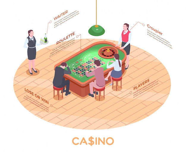 Isometric composition with people playing roulette in casino 3d