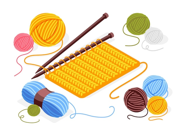 Isometric composition with piece of knitted fabric, knitting needles and colored wood clews illustration