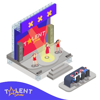 Isometric composition with three women performing at talent show