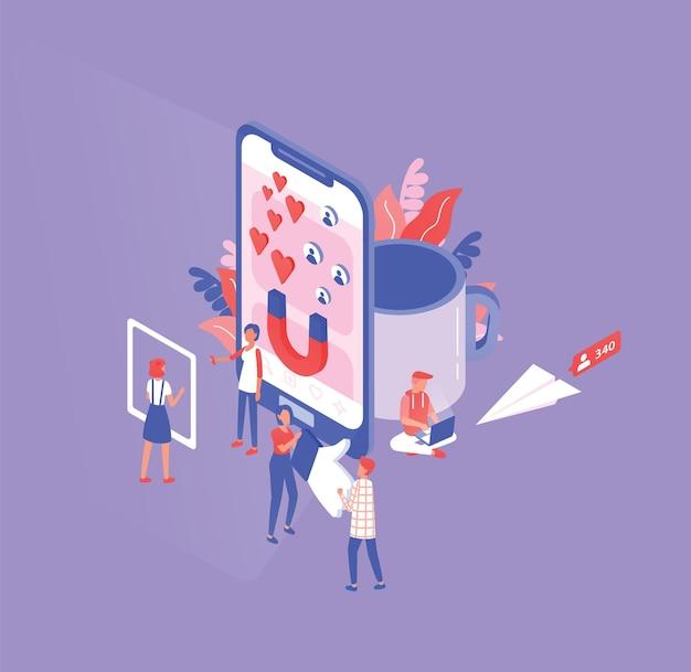 Изометрическая композиция с крошечными мужчинами и женщинами, гигантским смартфоном, чашкой и бумажным самолетиком.