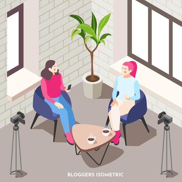 Composizione isometrica con due blogger femminili che parlano e prendono video 3d