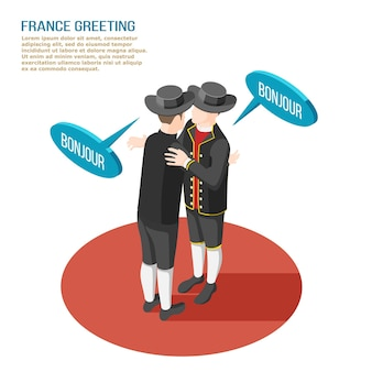 Composizione isometrica con due francesi in costumi nazionali che si salutano illustrazione 3d