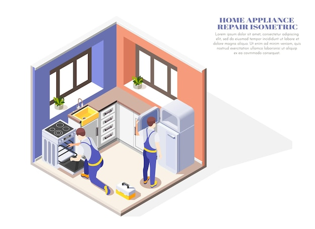 Isometric composition with two handymen repairing home appliances in kitchen 3d