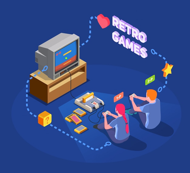 Isometric composition with two people playing with retro gadgets on blue  3d